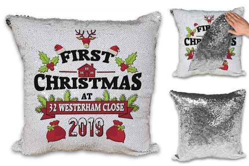 Personalised First Christmas at New Address Festive Novelty Sequin Reveal Magic Cushion Cover
